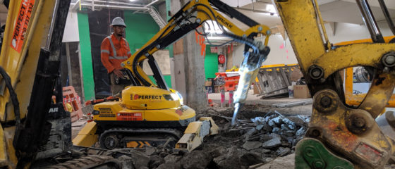 Demolition works at Castle Towers Shopping Centre