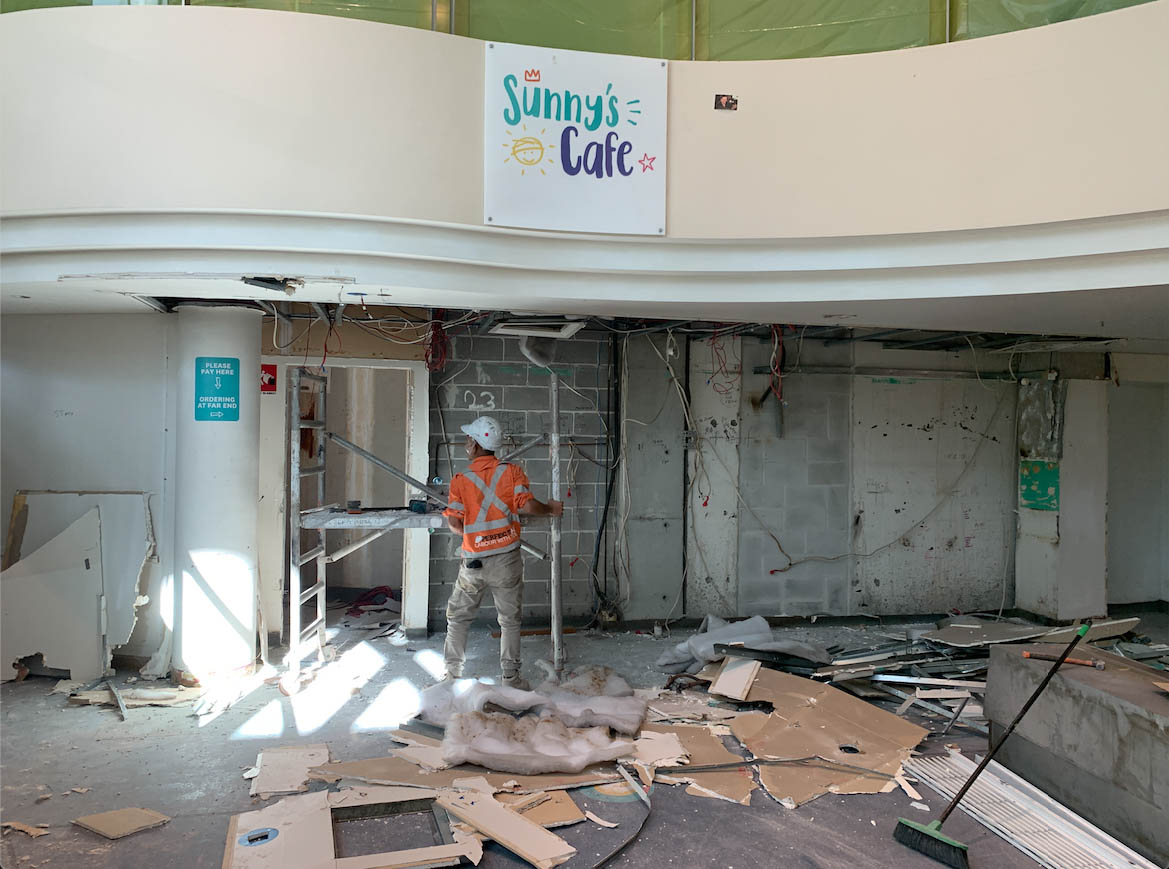Full demolition & strip out of the old Sunny's Cafe at Sydney Children's Hospital