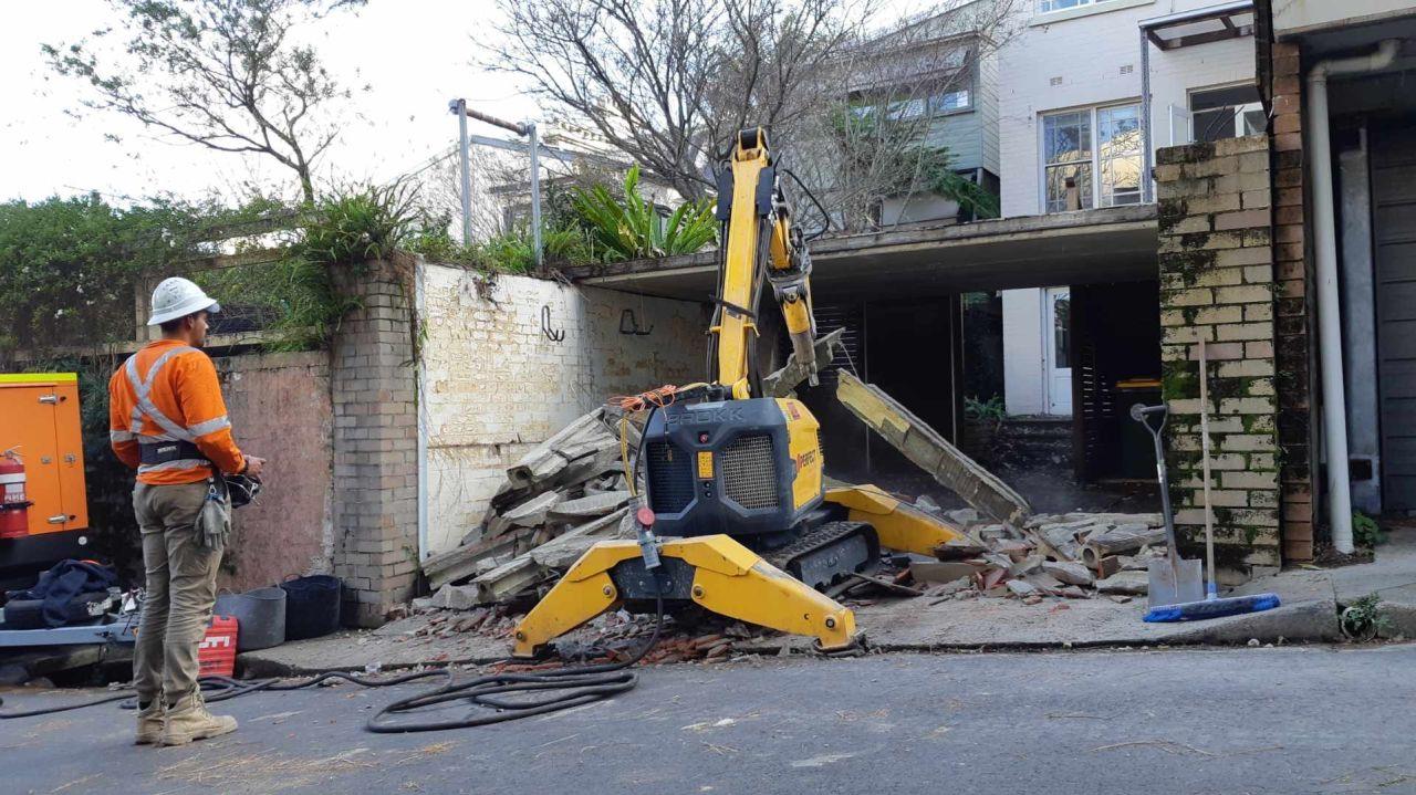 Garage Demolition made easy using our Brokk200