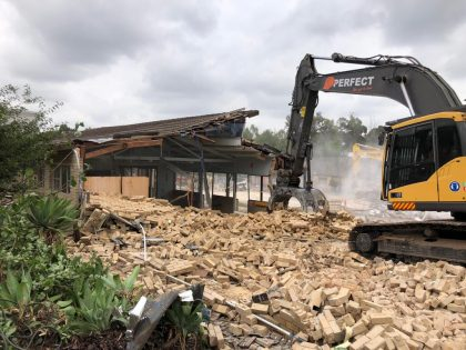 High school building demolish in Kellyville